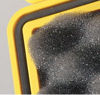close up of o'ring seal on the inside of a peli 1560 case in yellow