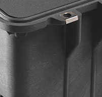 a close up of a peli 1610m mobility cases Stainless steel hardware and padlock protectors