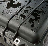 close up of a peli case with water on the lid to show its water resistant