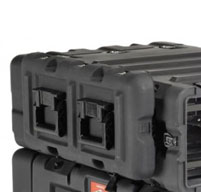 close up of peli hardigg blackbox 4u rack mount cases Moulded-in rib design which provides secure stacking and interlock.