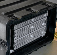 close up of peli hardigg blackbox 4u rack mount cases Shock mounts which provides 2 inches of sway space to isolate equipment