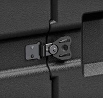 close up of peli hardigg blackbox 4u rack mount cases Recessed heavy duty twist latches which keep contents secure during transport