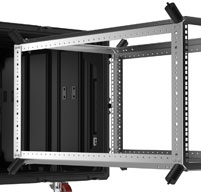 Close up of peli hardigg classic v 9u rack mount cases Fixed square hole frame for universal equipment fit