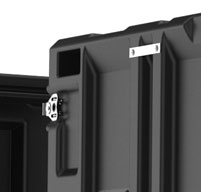 Close up of peli hardigg classic v 9u rack mount cases Lid hangers for lid storage while in use
