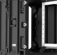 Close up of peli hardigg classic v 4u rack mount cases Recessed hardware that protecs from impact and snag-free transport