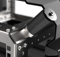 Close up of peli hardigg classic v 4u rack mount cases Shock mounts for delicate equipment