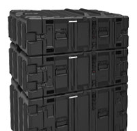 Close up of peli hardigg classic v 4u rack mount cases Stacking ribs which secure non-slip stacking on matched size cases