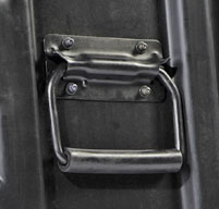 Close up of peli hardigg classic v 9u rack mount cases Stainless steel handles