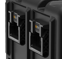 Close up of peli hardigg super v 11u rack mount cases Handles on the lid for ease of movement