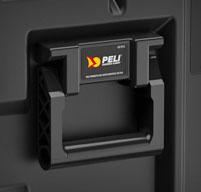 Close up of peli hardigg super v 3u rack mount cases Heavy-duty spring loaded handles which lay flat