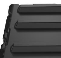 Close up of peli hardigg super v 11u rack mount cases Stacking ribs secure non-slip stacking on matched size cases