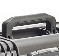 a close up of a black peli IM2435 Storm case Double-layered, Soft-grip Handle
