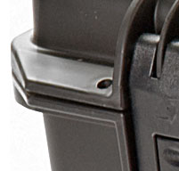 a close up of a peli storm im2950 cases Two Padlockable Hasps