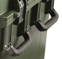a close up of a peli storm im3075 cases Four Double-layered, Soft-grip Handles