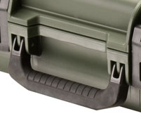 close up of a peli storm im3200 cases Two Double-layered, Soft-grip Handles