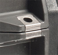a close up of a black peli IM2435 Storm case Stainless Steel Padlock Protectors